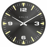 Designové skleněné nástěnné hodiny černé vyrobené v ČR