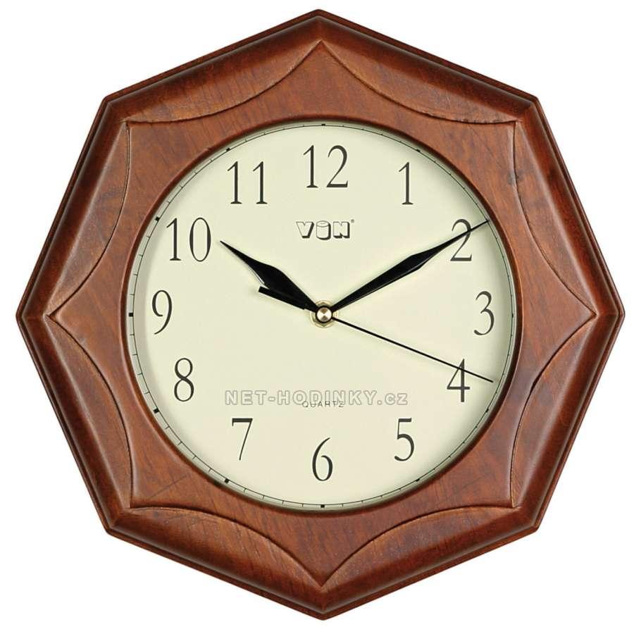 Hodiny nástěnné dřevěné kulaté H902L.8,tmavé, hodiny na stěnu