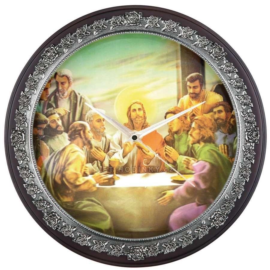 Hodiny nástěnné dřevěné kulaté Svaté (HS715D), hodiny na stěnu