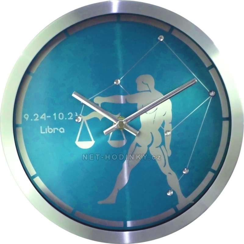 Nástěnné kovové hodiny na zeď motiv znamení H9267 H9275 - znamení váhy