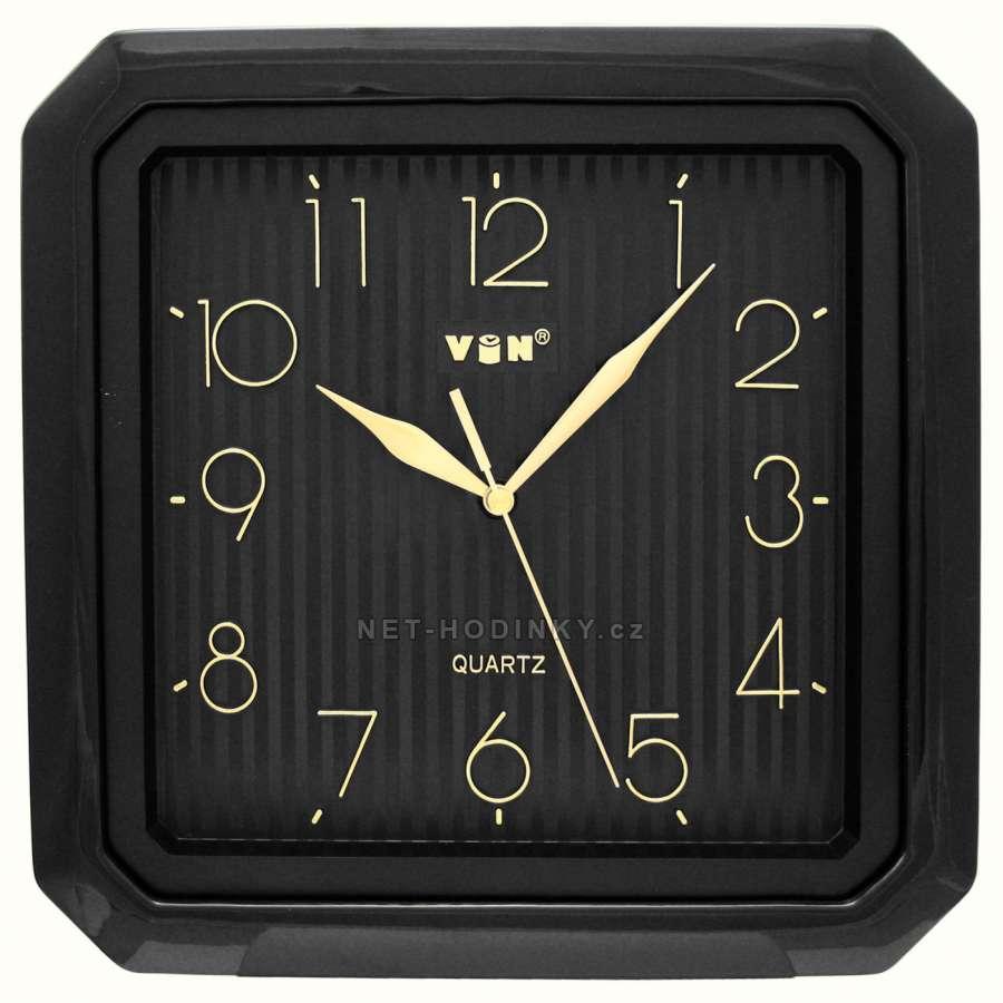 Hodiny nástěnné plastové (H52CB) černá, Hodiny nástěnné plastové (H52E) zlatá, hodiny hranaté na zeď H52CB černá