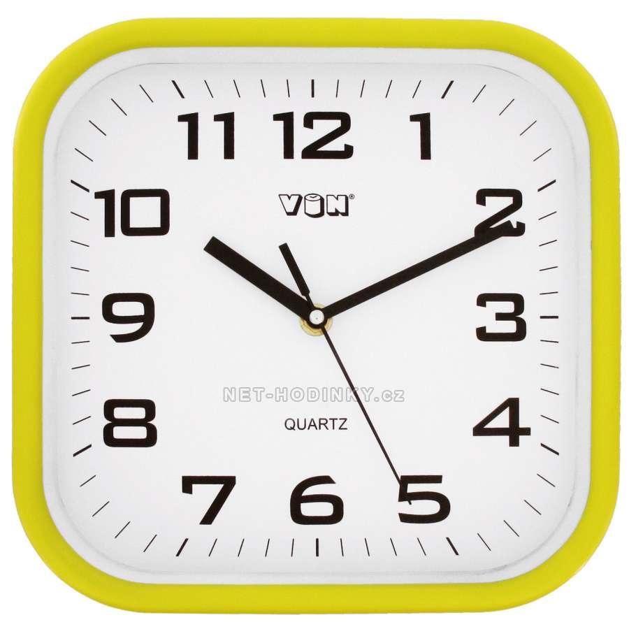 Nástěnné hodiny na stěnu, nástěnné hodiny na zeď H7260Y žlutá
