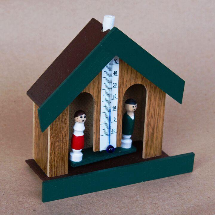 Meteorologický domeček na počasí - tm. přírodní barva, zelený štít