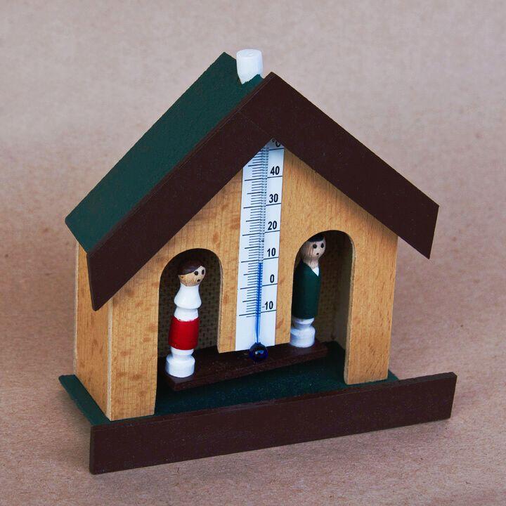 Meteorologický domeček s lihovým teploměrem - přírodní barva, hnědý štít