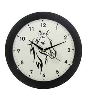 Nástěnné hodiny na stěnu, nástěnné hodiny na zeď hlava koně HJ27035 černá