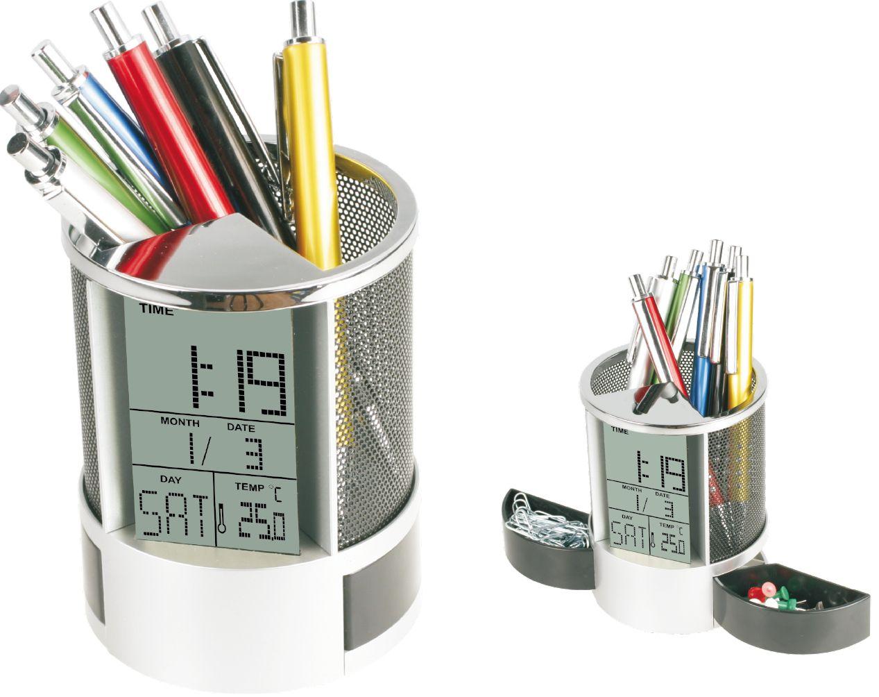 Stojan FELLA s teploměrem a hodinami do kanceláře stříbrná barva, stojan na tužky, pera na stůl, okno, kancelářské potřeby