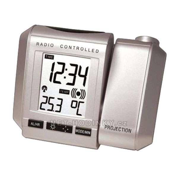 Rádiem řízené hodiny s projekcí WT 535.1 stříbrná