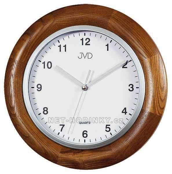 JVD Moderní nástěnné hodiny na zeď kulaté dřevěné N26065.11.2