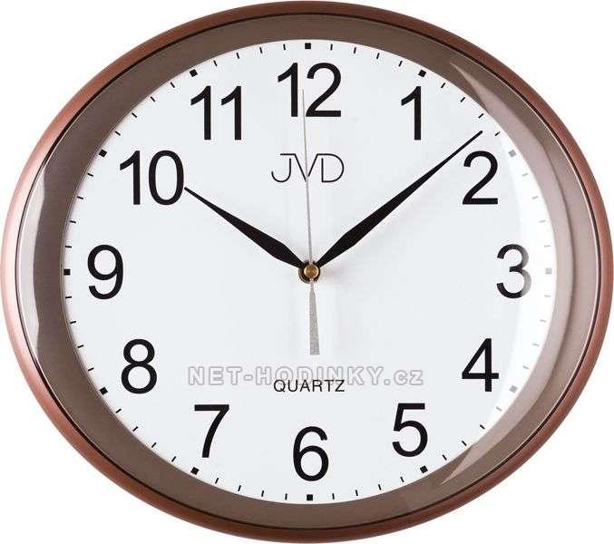 Nástěnné hodiny JVD quartz H64.1.1 na zeď H64.2.2 červenohnědá metalíza