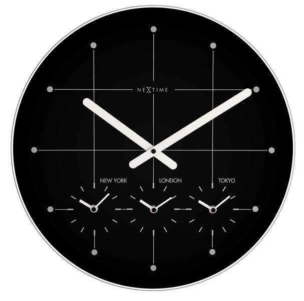 NeXtime Designové nástěnné hodiny 214zw Nextime Big City black 43cm