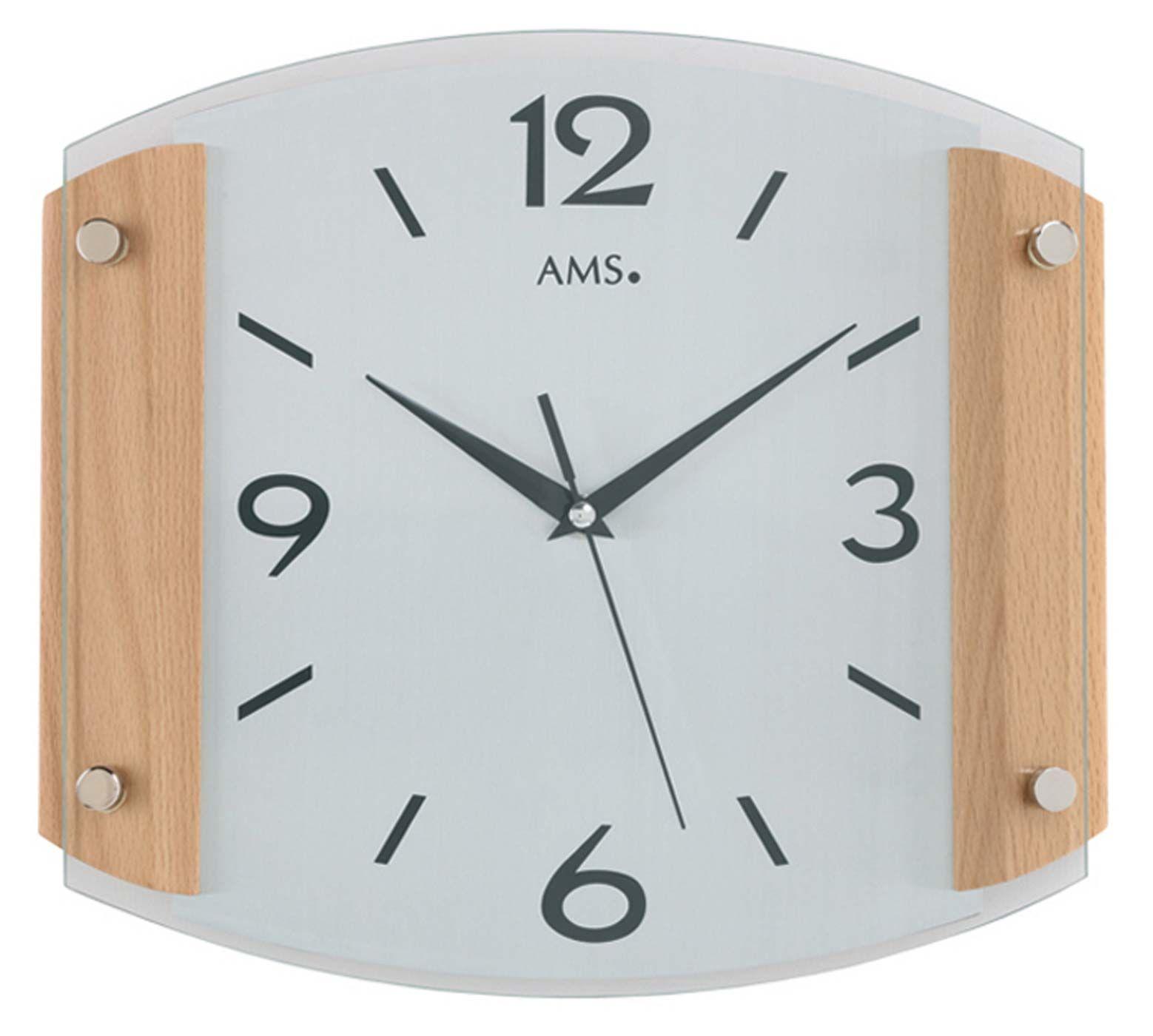 Nástěnné hodiny ams 5938/18 buk rádiem řízený čas