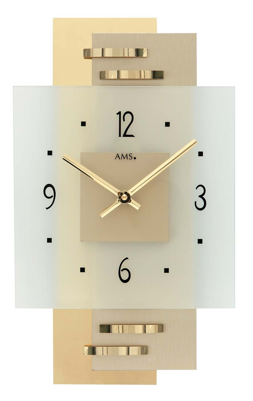 Nástěnné designové hodiny ams 9241 zlatá