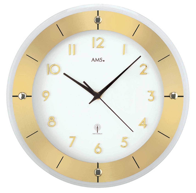 Nástěnné hodiny ams 5850 rádiem řízené zlatá