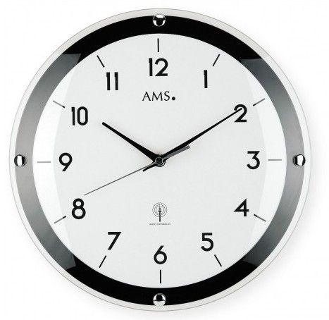 Nástěnné hodiny ams 5906 rádiem řízené bílá