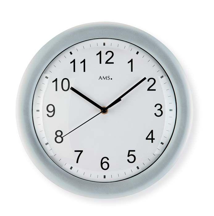 Nástěnné hodiny ams 5933 rádiem řízené stříbrná