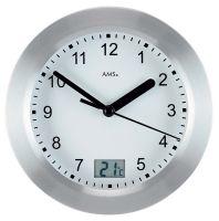 Nástěnné hodiny ams 9223 quartzové, voděodolné s ukazatelem teploty