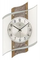 Designové nástěnné hodiny ams 5518 rádiem řízené dekor ořech/kámen
