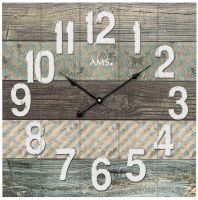 Nástěnné hodiny designové čtvercové dřevěné ams 9570 tyrkys