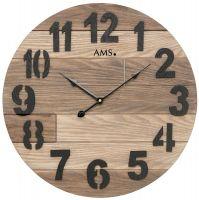 Designové nástěnné kulaté dřevěné hodiny ams 9569 hnědá