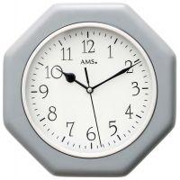 Nástěnné hodiny dřevěné ams 5511 hranaté v barvě stříbrná, rádiem řízené