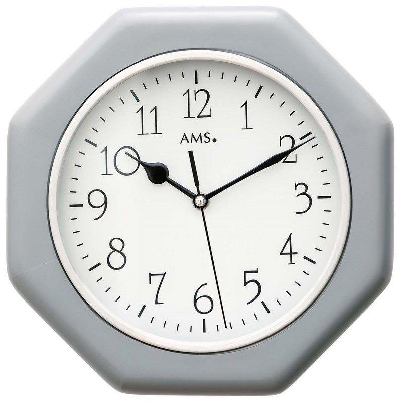 Hodiny nástěnné hranaté ams 5511 stříbrná barva, hodiny rádiem řízený čas na zeď