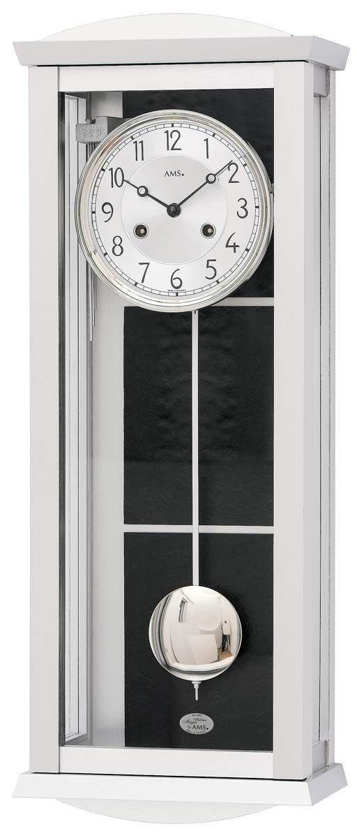 Luxusní kyvadlové mechanické nástěnné hodiny ams 2752 dřevo/hliník