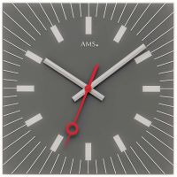 Nástěnné hodiny čtvercové ams 9577 šedá antracit