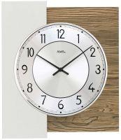 Nástěnné hodiny čtvercové ams 9582 dekor ořech