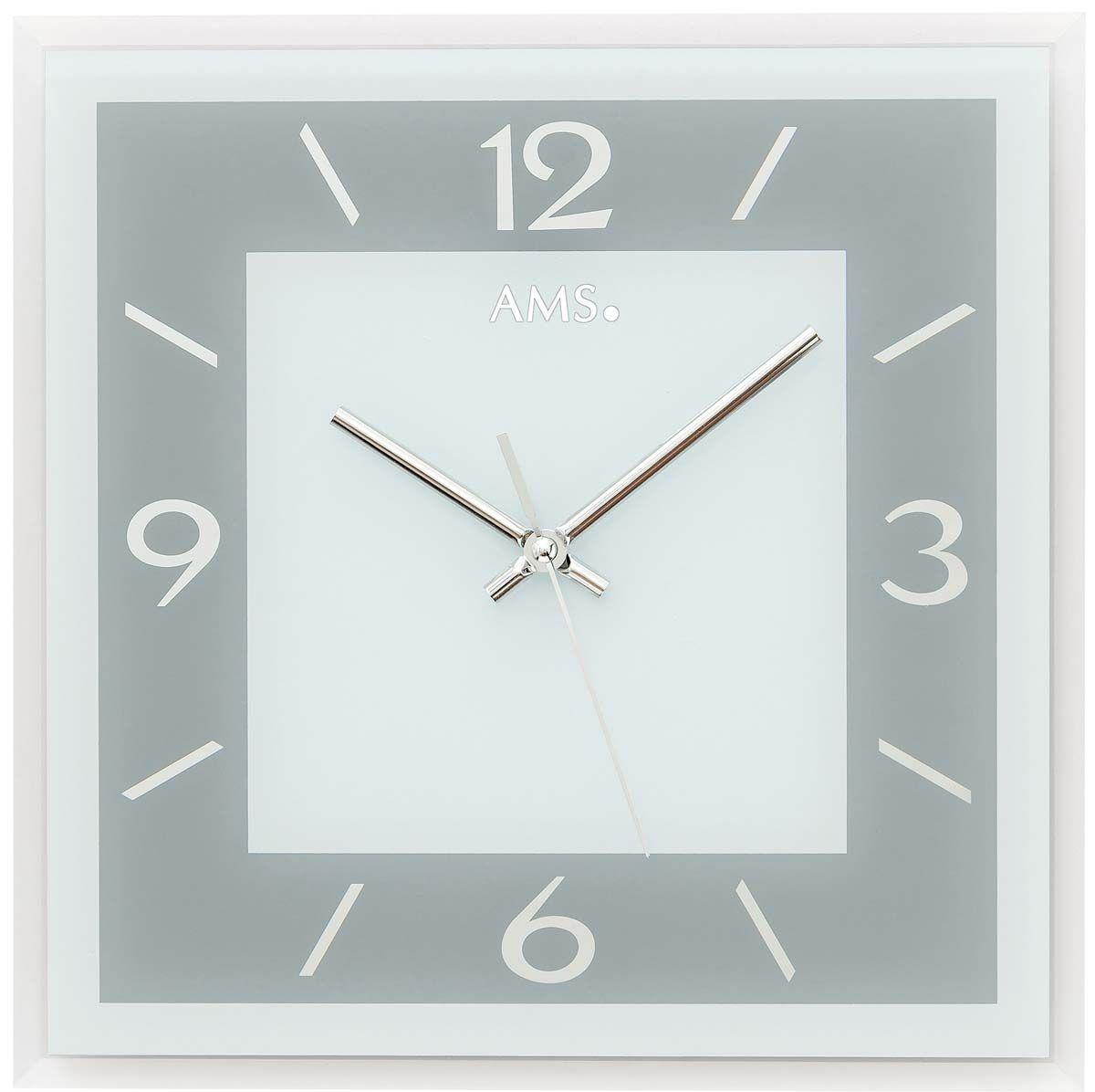 Nástěnné hodiny čtvercové skleněné ams 9573 stříbrná