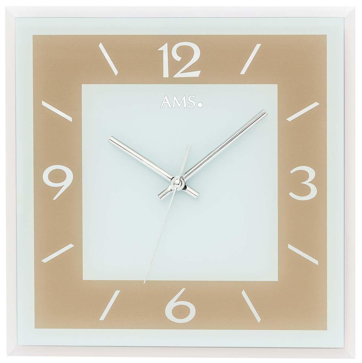 Nástěnné hodiny čtvercové skleněné ams 9574 zlatá