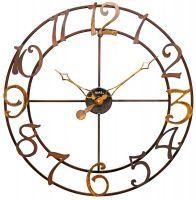 Nástěnné hodiny designové ams 9566 velké kulaté kovové patiny