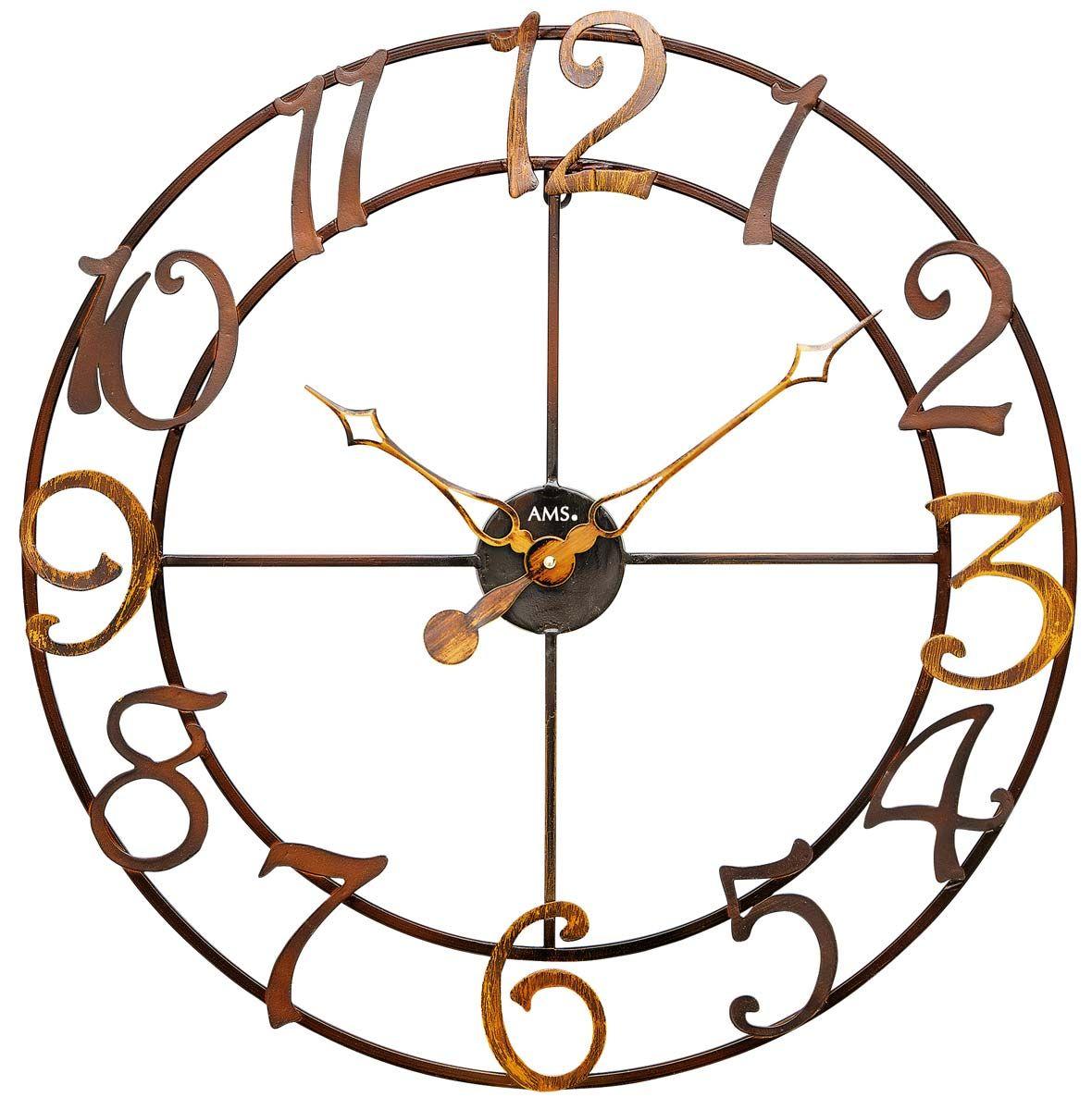 Nástěnné hodiny designové ams 9566 velké kulaté kovové měď