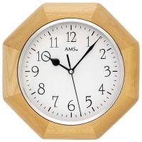 Nástěnné hodiny dřevěné ams 5512/18 hranaté v barvě buk, rádiem řízené