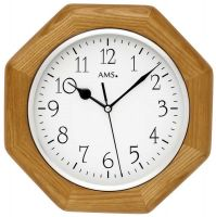 Nástěnné hodiny dřevěné ams 5512 hranaté v barvě dub, rádiem řízené