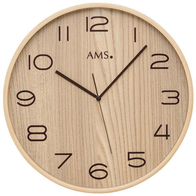 Nástěnné hodiny kulaté ams 5514, rádiem řízené dekor přírodní dřevo