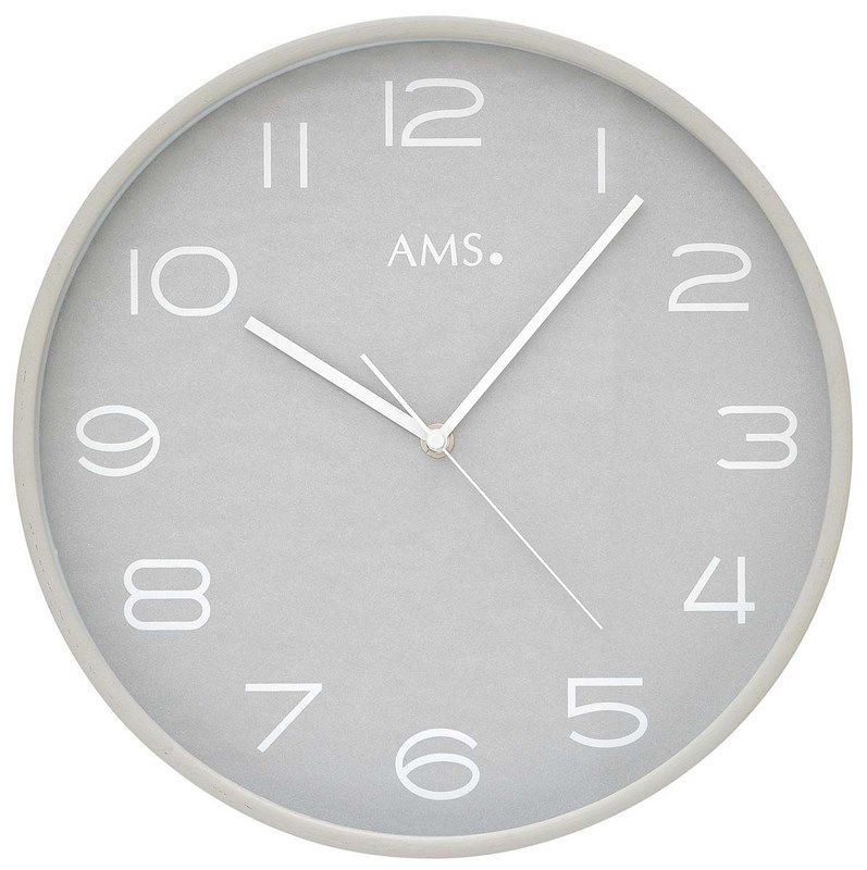 Nástěnné hodiny kulaté ams 5521, rádiem řízené barva stříbrná