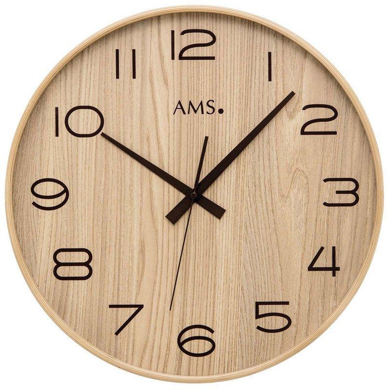 Nástěnné hodiny kulaté ams 5522, rádiem řízené přírodní dřevo