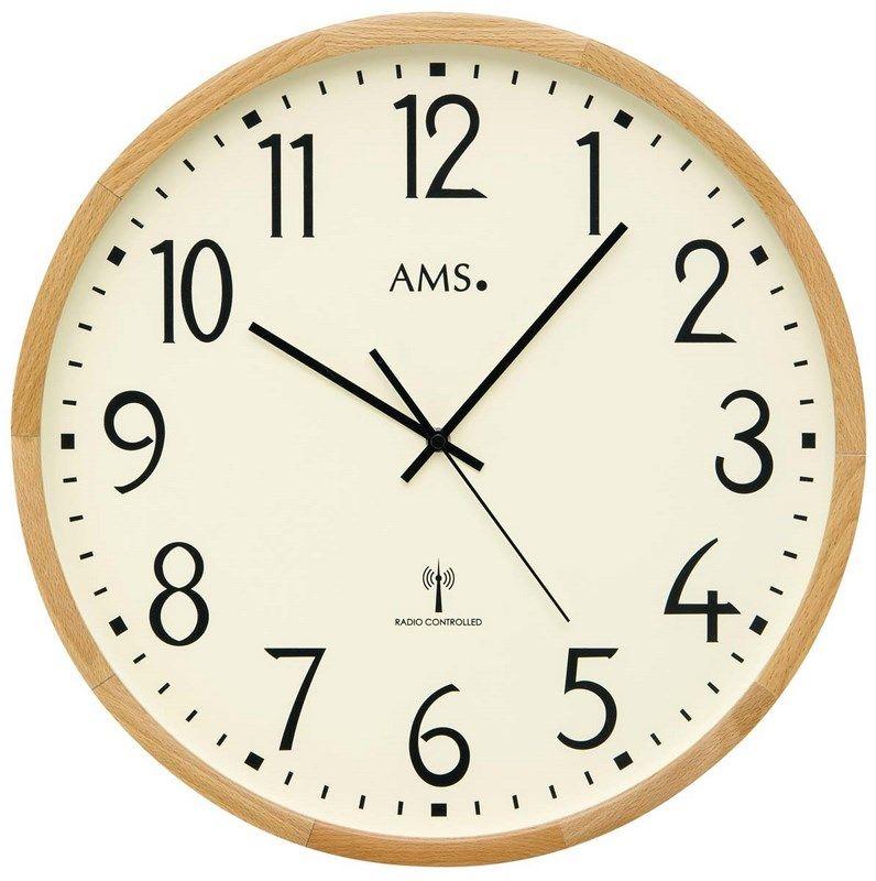 Nástěnné hodiny kulaté ams 5534, rádiem řízené dekorace buk