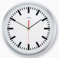 Nástěnné hodiny kulaté ams 5540, rádiem řízené dekorace hliník