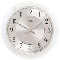 Nástěnné hodiny kulaté ams 9476 stříbrná