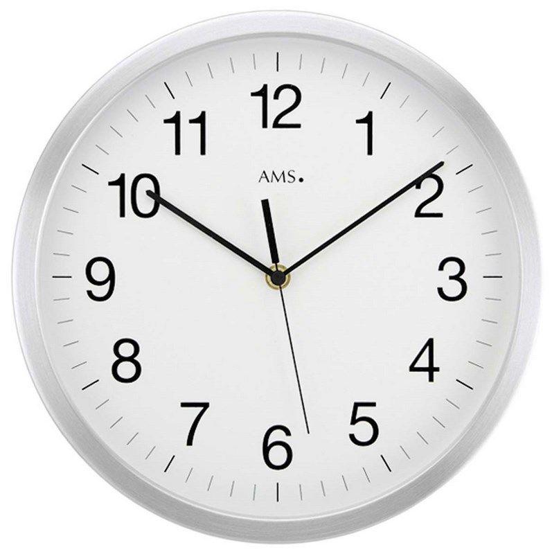 Nástěnné hodiny kulaté kovové ams 5525, rádiem řízené velké