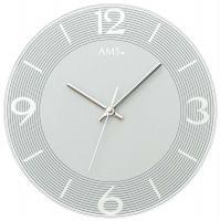 Nástěnné hodiny kulaté skleněné ams 9571 stříbrná