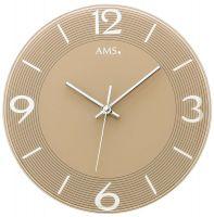 Nástěnné hodiny kulaté skleněné ams 9572