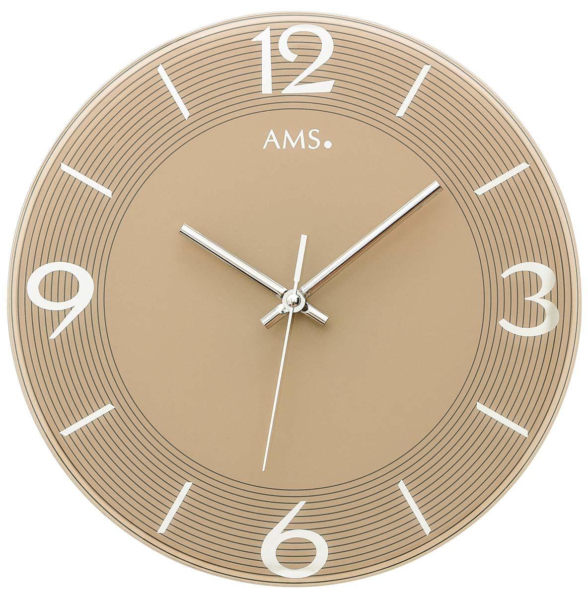 Nástěnné hodiny kulaté skleněné ams 9572 zlatá