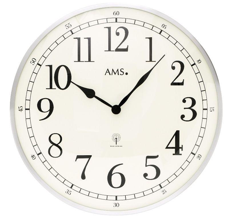 Nástěnné hodiny kulaté velké kovové ams 5606, rádiem řízené stříbrná metalická