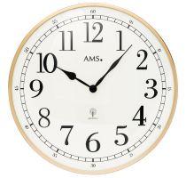 Nástěnné hodiny kulaté velké kovové ams 5607, rádiem řízené zlatá metalická