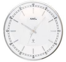 Nástěnné hodiny kulaté velké kovové ams 5608, rádiem řízené stříbrná metalická
