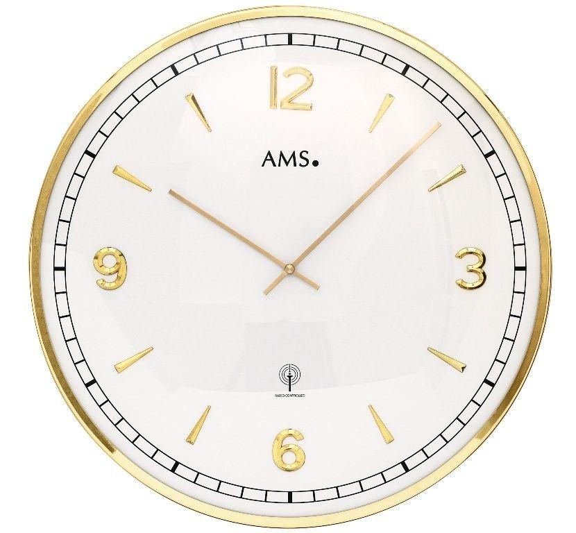 Nástěnné hodiny kulaté velké kovové ams 5609, rádiem řízené zlatá metalická