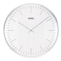 Nástěnné hodiny kulaté velké kovové ams 9540, stříbrná metalická