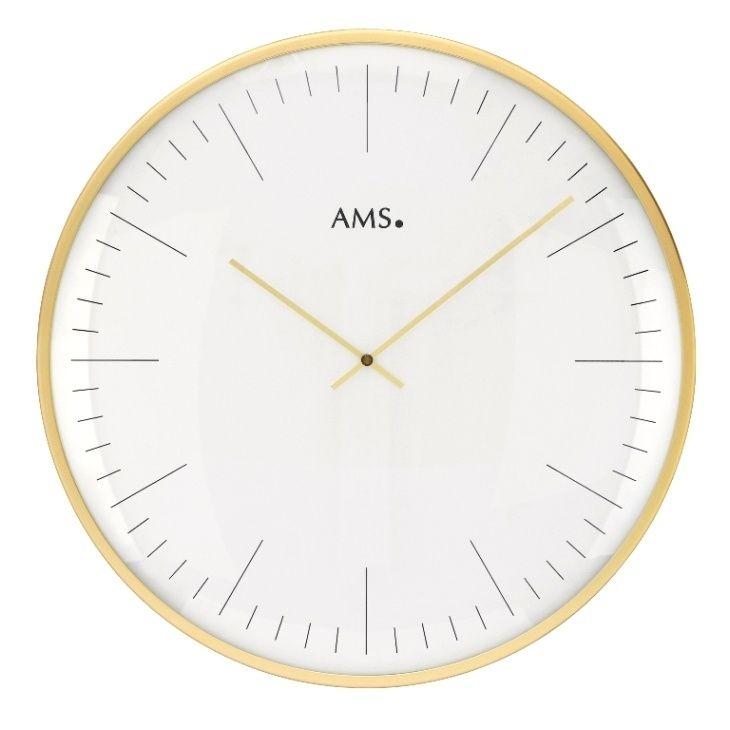 Nástěnné hodiny kulaté velké kovové ams 9541, zlatá metalická